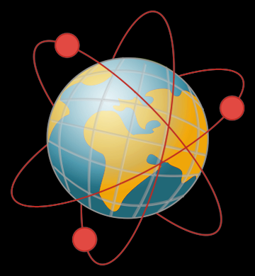 Illustration of an atom with the Earth as its nucleus